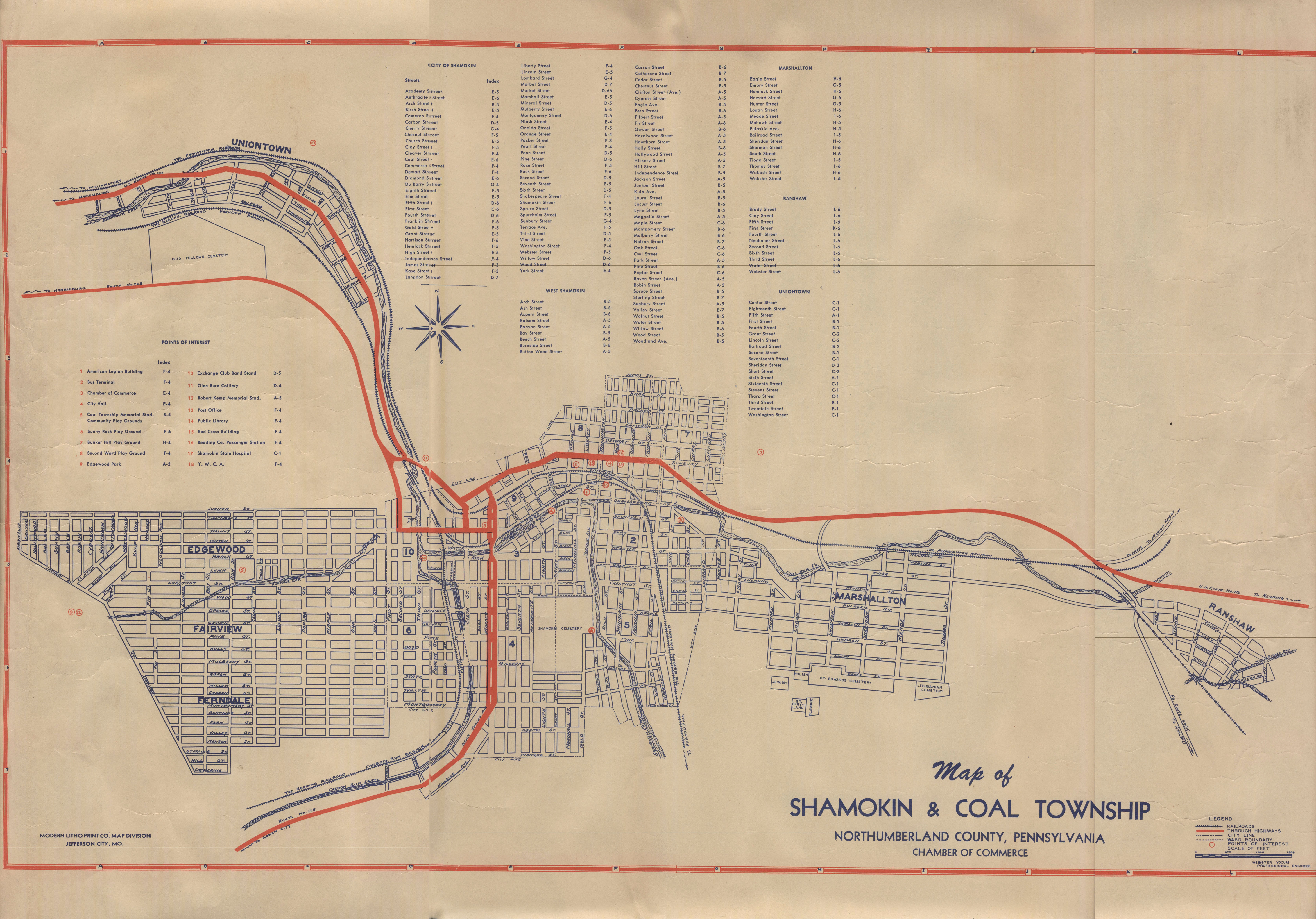 Map of Shamokin and Coal Township