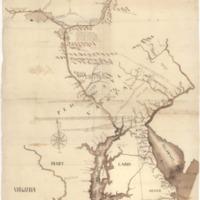 Karte der Flussläufe des Delaware Rivers und des Susquehanna Rivers mit Nebenarmen und Abzweigungen mit Angabe des Grenzverlaufs zwischen Maryland und Pennsylvania