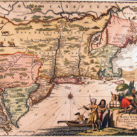 Novi Belgii, quod nunc Novi Jorck vocatur, Novaeque Anglia et partis Virginiae. (New Netherland, Which is Now Called New York, and New England and Part of Virginia.)